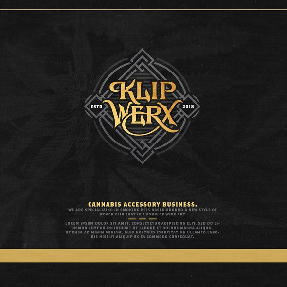 High-end brand with the title 'Klip Werx - Cannabis Accessory Business'