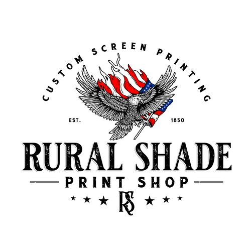 American flag design with the title 'Rural Shade Print Shop'
