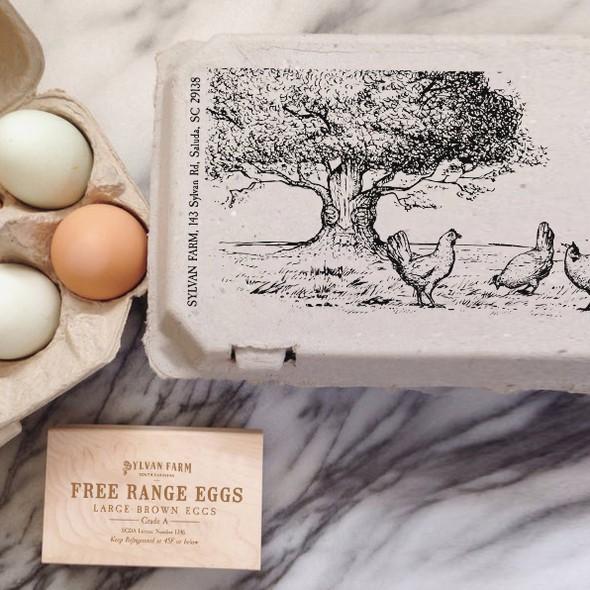 Carton design with the title 'Egg carton label'