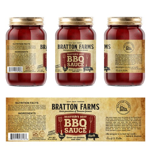 BBQ label with the title 'Label BBQ Sauce Bratton Farms'