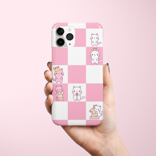 Cat artwork with the title 'Phone case design with kawaii chess'