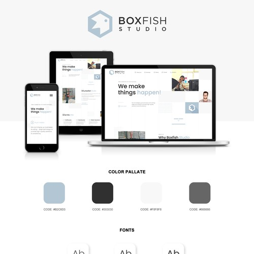 Consultant website with the title 'Boxfish studio new website'