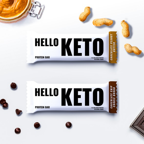 Minimal packaging with the title 'Packaging Design for Protein Bar'