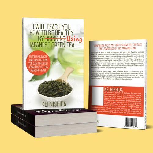 Green tea design with the title 'Book Cover I will teach you how to be healthy by using japanese green tea'