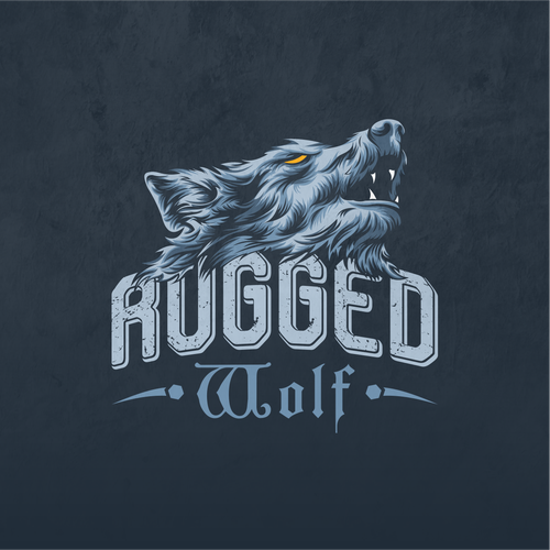 Illustrated logo with the title '1 to 1 project rugged wolf'