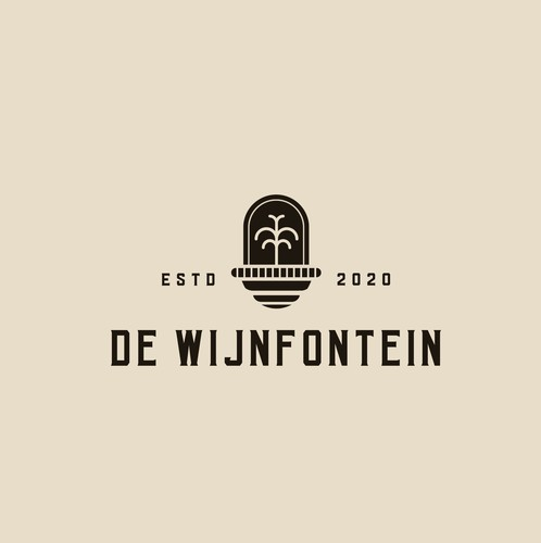 Fountain logo with the title 'De Wijnfontein '