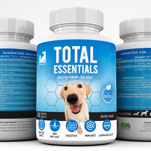 Label packaging with the title 'Label design for dog supplement'