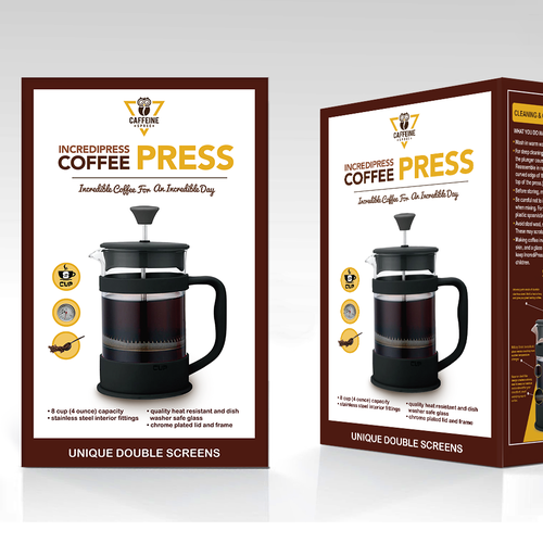 Device packaging with the title 'Coffee press, packaging design'
