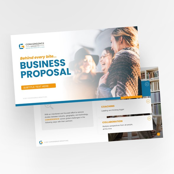 Startup design with the title 'Convergence startup Powerpoint template'