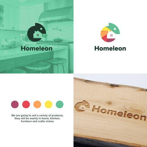 Green home logo with the title 'Homeleon'