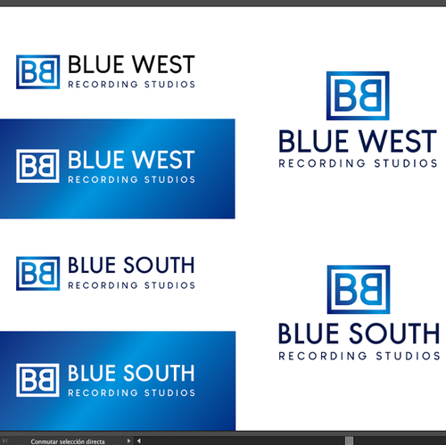 Recording studio design with the title 'Blue West'
