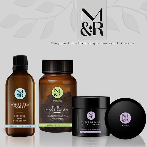 Stylish packaging with the title 'M&R essential nutrients'