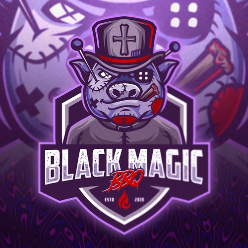 Gray and white logo with the title 'Black Magic BBQ'