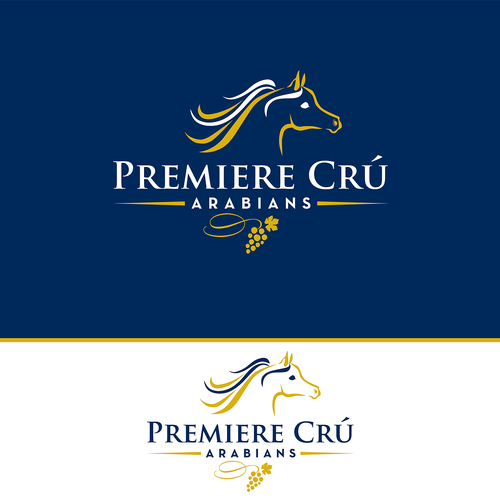 Equestrian design with the title 'Premiere Crú Arabians Show Horse Logo'