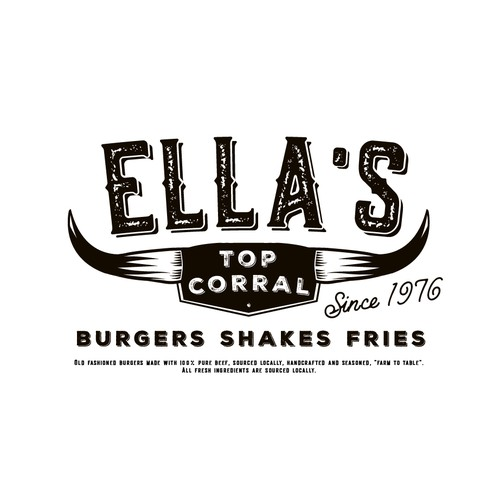 Western logo with the title 'Ella's Top Corral'