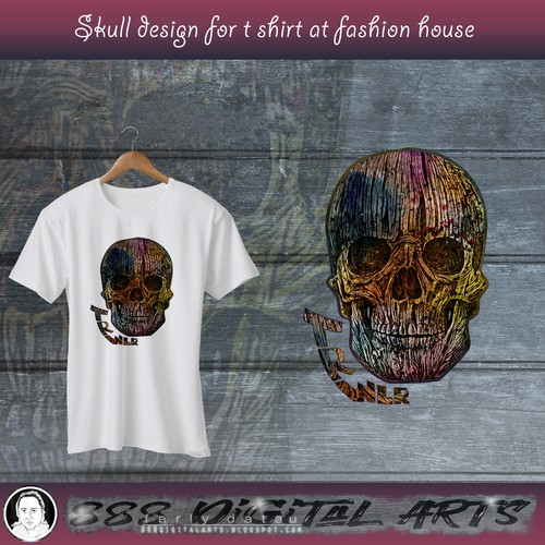 White t-shirt with the title 'A Head Skull made by mess'