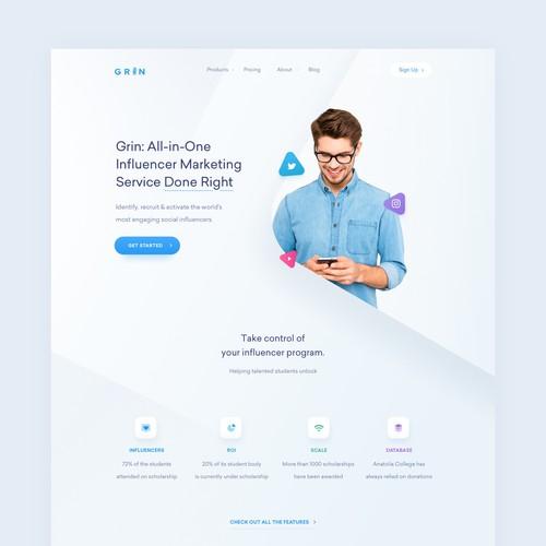 SaaS website with the title 'Grin Influencer Platform Web Design'
