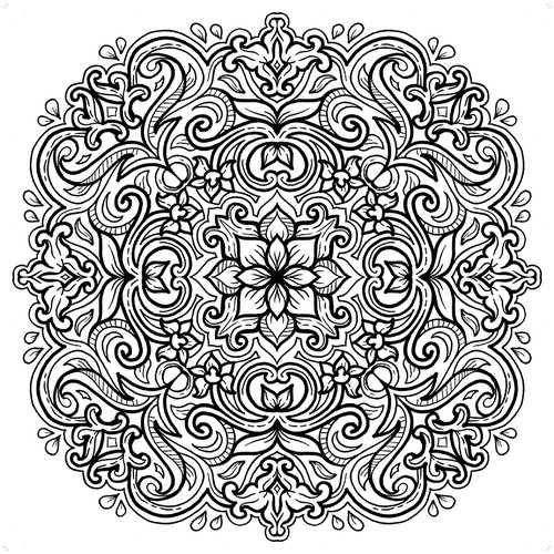 Book artwork with the title 'Batik Mandala Coloring Book'