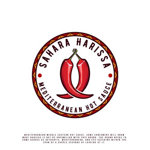 Chili pepper logo with the title 'Sahara Harissa'