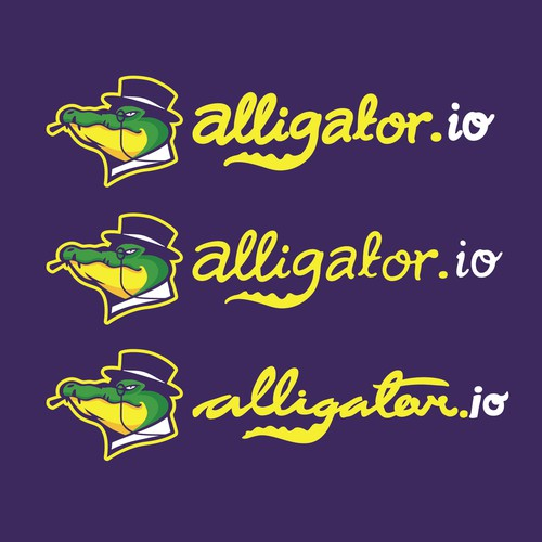 Black and purple logo with the title 'Wining Design for Alligator.io'