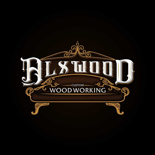 Brown brand with the title 'Wood Working Furniture Logo'