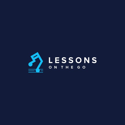 Abstract design with the title 'LESSONS ON THE GO'