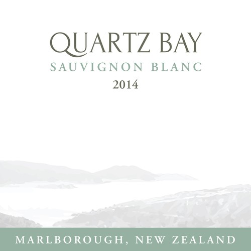 White and green design with the title 'Product label for 'Quartz Bay''