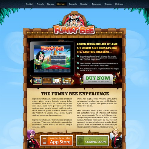 Fun website with the title 'Funky Bee: Web Design'