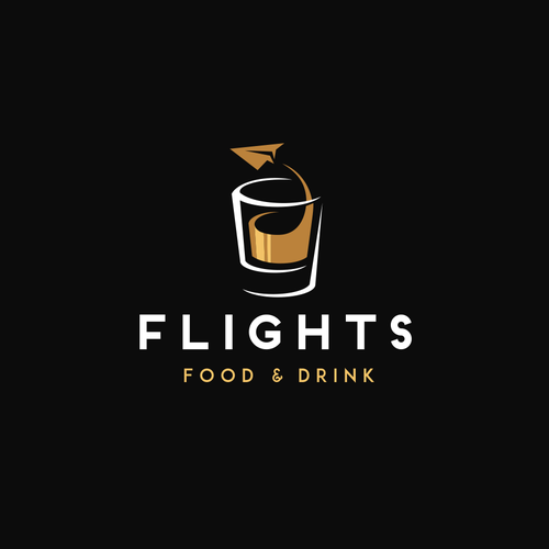 """Airline and flight logo with the title 'Logo design concept for an airport restaurant """"Flights""""'"""