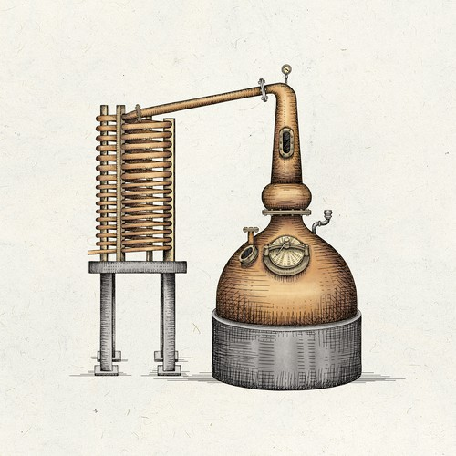 Hand-drawn illustration with the title 'Beverage distillation equipment'