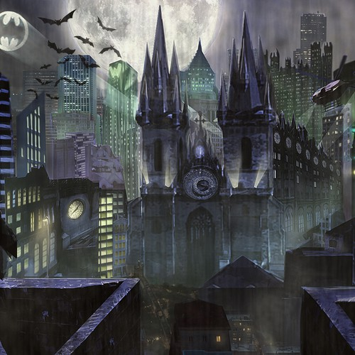 Batman design with the title 'Create an Illustration of Gotham City at Night'