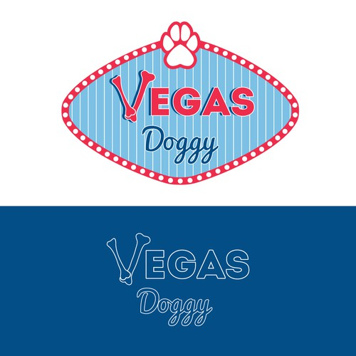 Pet grooming logo with the title 'Vegas Doggy'