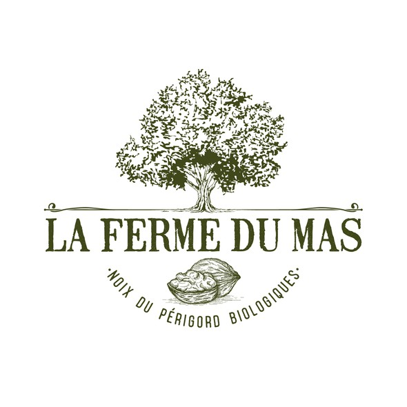 Walnut design with the title 'Logo design for a farm in Perigord, France'
