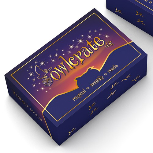 Elegant packaging with the title 'Eye-cathing box design for Owlcrate'