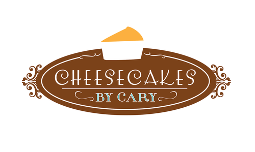 Cheesecake design with the title 'Elegant Cheesecake Logo Design (in Brown)'
