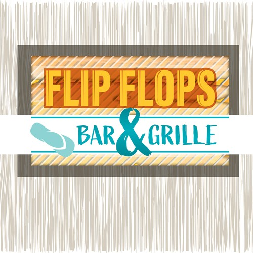Tiki design with the title 'Flip Flops Bar & Grille'
