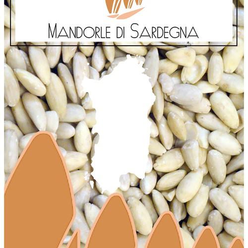 Agriculture packaging with the title 'etichetta per sacchetto di mandorle'