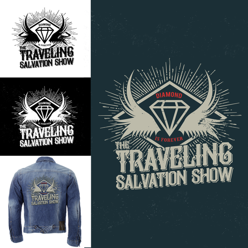 Merchandise logo with the title 'Logo design for The Traveling Salvation Show'
