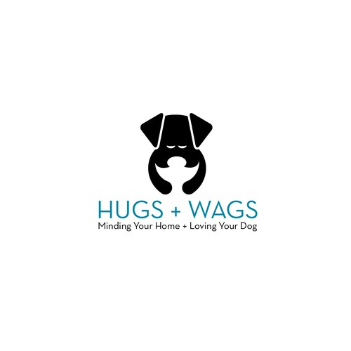 Pet sitting logo with the title 'Dog hugging a person'