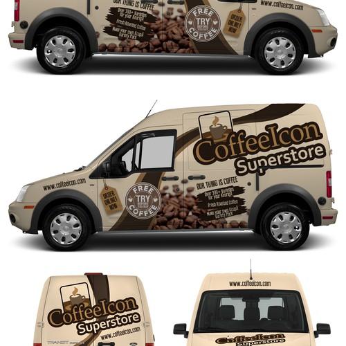 Coffee shop design with the title 'CoffeIcon Supestore'