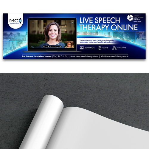 Online marketing design with the title 'Print Ad for Live Speech Therapy Online'