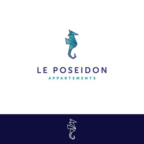 Poseidon logo with the title 'Logo concept for waterfront apartment building'