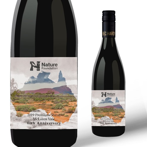 Shiraz label with the title 'Wine label for Nature'