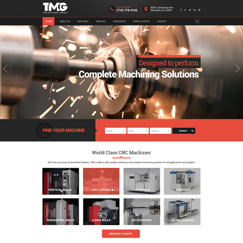 High-tech design with the title 'Webdesign for machine dealer'