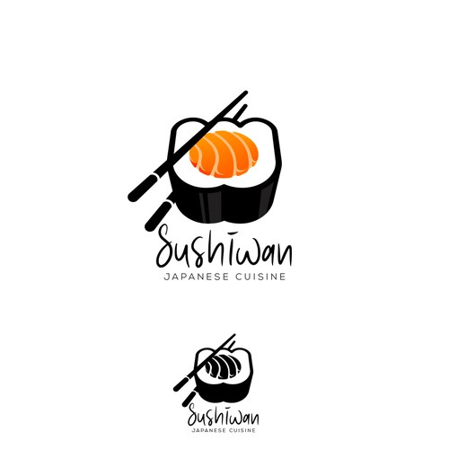 Japanese restaurant design with the title 'Logo Sushiwan'