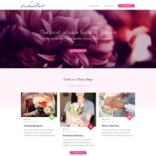 Feminine website with the title 'Modern design for one of the US Florists'