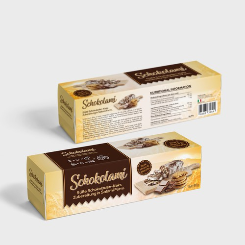 Biscuit packaging with the title 'Packing for choco salami with biscuits'