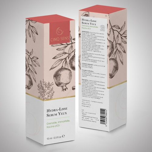 Skincare packaging with the title 'package and label'