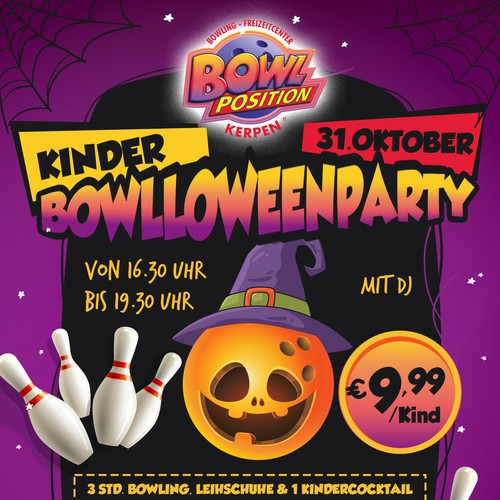 Party design with the title 'Halloween bowling'