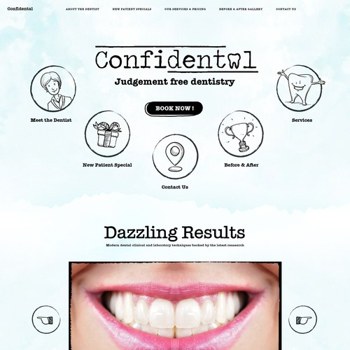 Typewriter design with the title 'Unique Dental Clinic Website for Confidental'